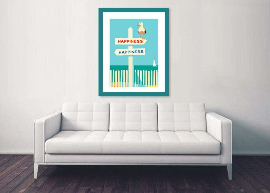 Beach theme Art Print - happiness art Print-TheGretest