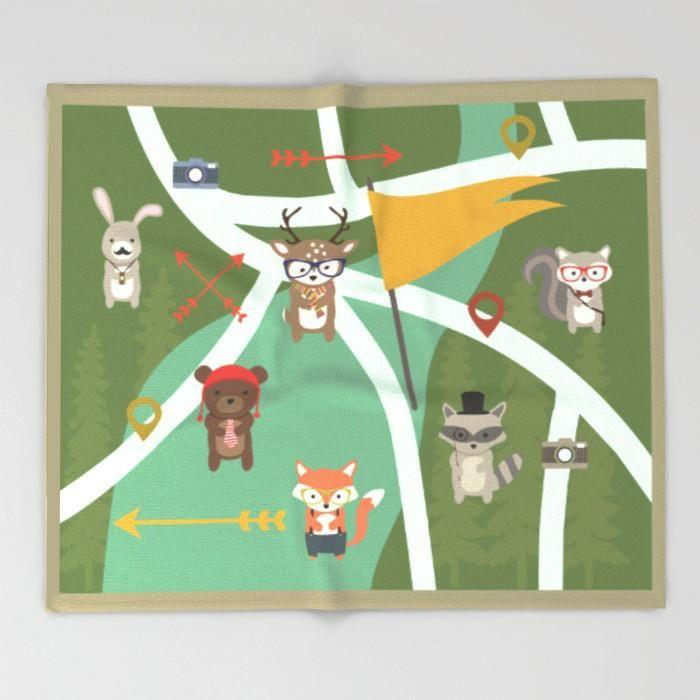 Kids Blanket Woodland creatures-TheGretest