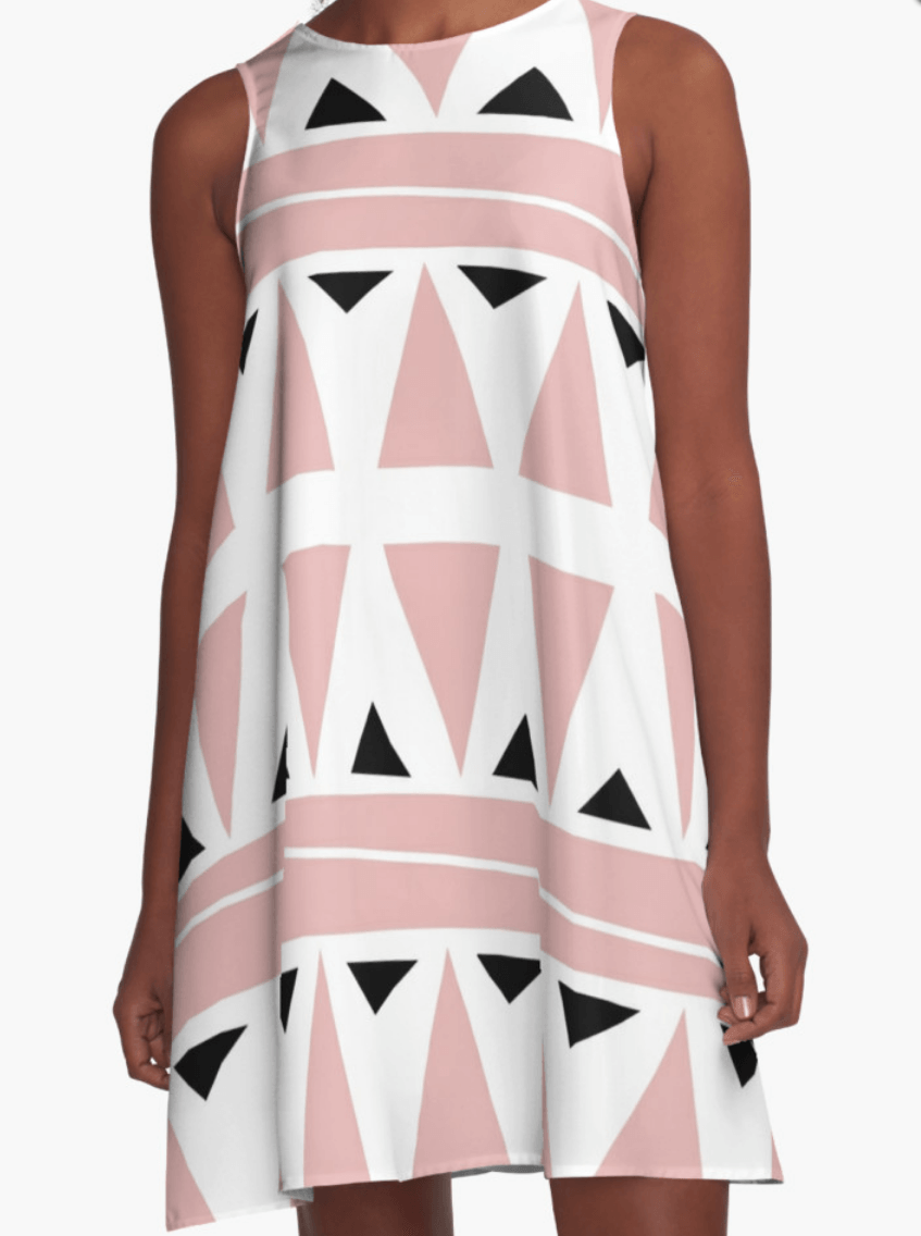 Pink and White Dress- A Line Dress for Woman - Modern Dress-TheGretest
