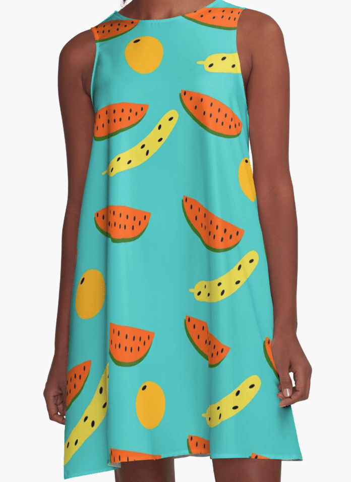 Watermelon Dress - A Line Dress for Woman - Blue dress-TheGretest