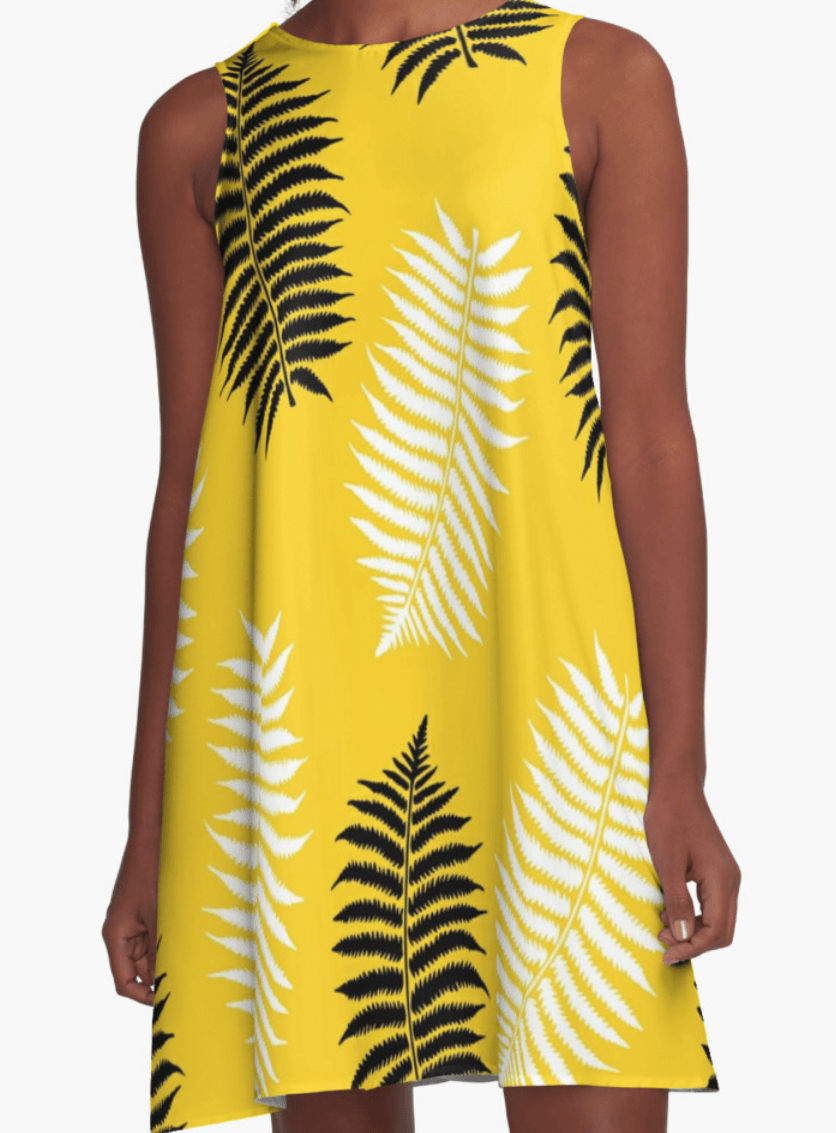 Yellow and leafs Dress- Girl Dress - A Line Dress for Woman - Modern Dress-TheGretest