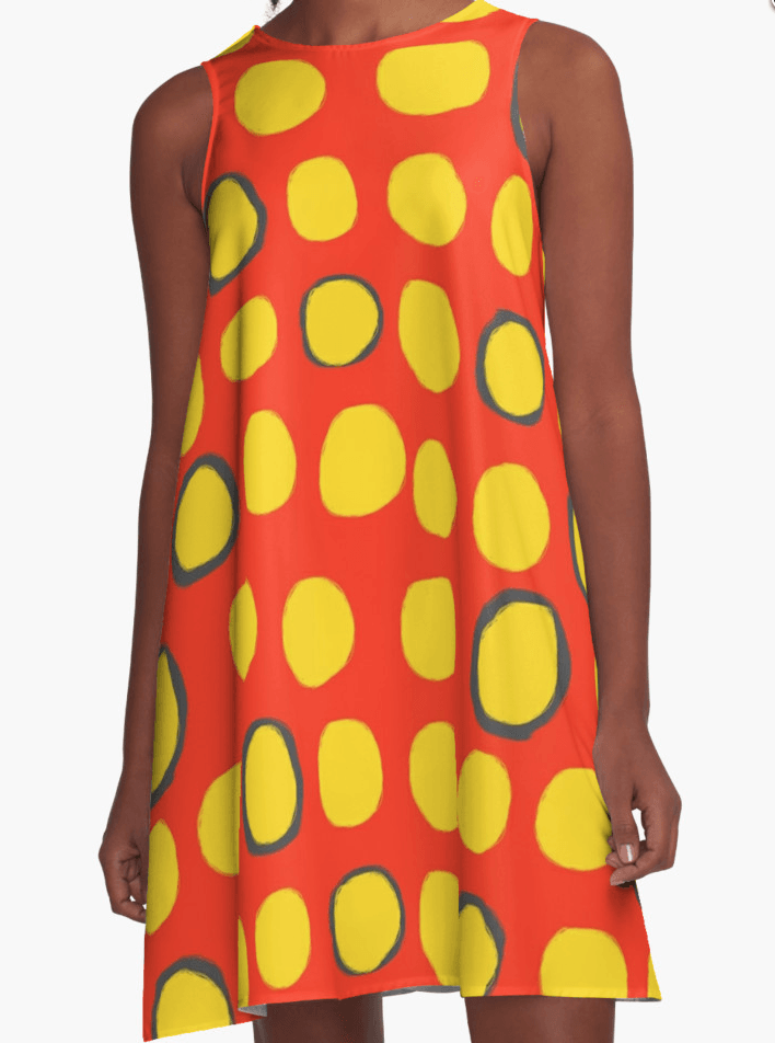 Yellow and Red Dress - Dress for Woman - Modern Patterns Dress-TheGretest