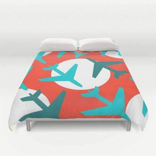 Airplanes on Red Duvet Cover