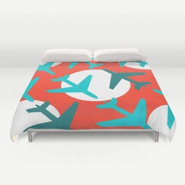 Airplanes on Red Duvet Cover-TheGretest