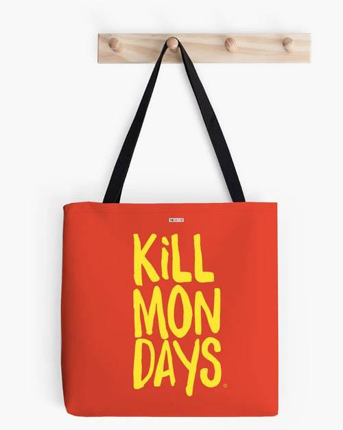 Kill Mondays Tote Bag - Red tote bag