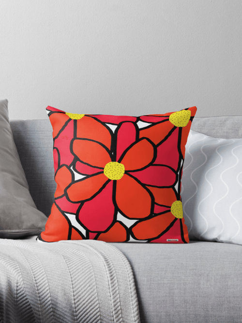 Big Red flowers Pillow - Floral Pillow - Scandinavian Pillow