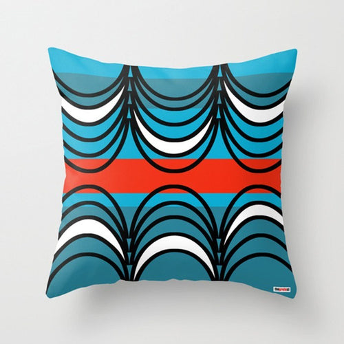 Blue and black throw pillows