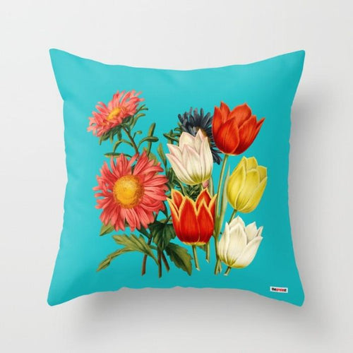 Blue Floral Decorative throw Pillow