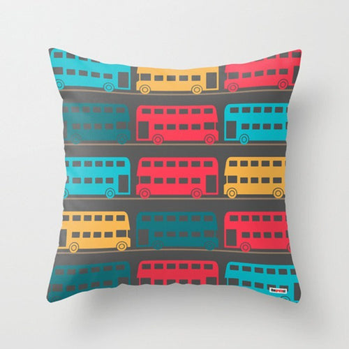 Colorful Buses Pillow - Pillows for Kids