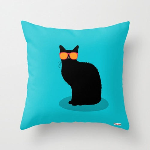 Cat Blue Decorative Pillow