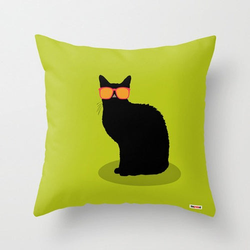 Cat on Green Decorative Pillow