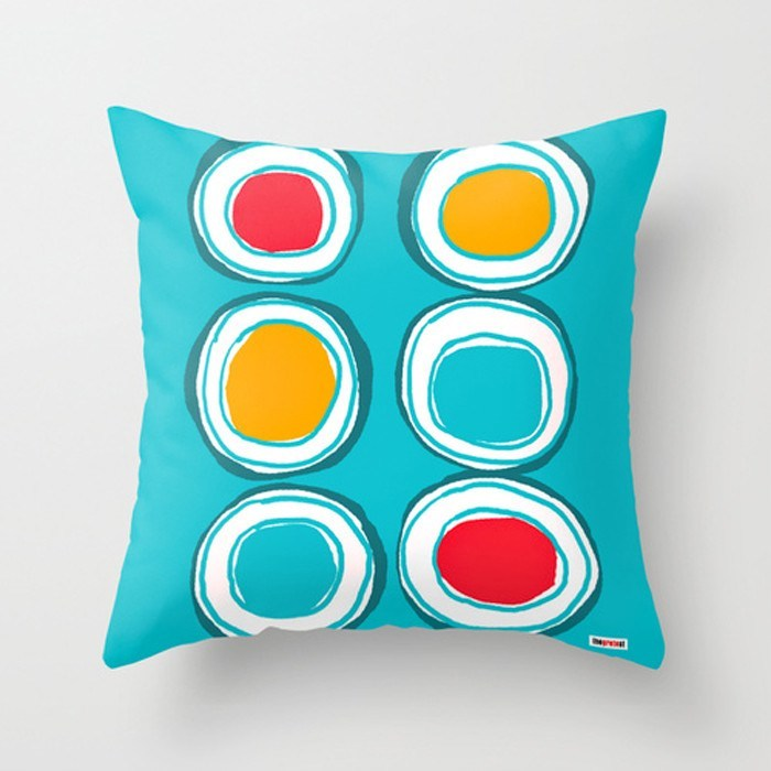 Circles on Blue Decorative throw Pillow-TheGretest