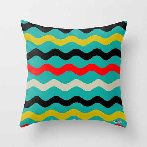 Color wave Lines Decorative Pillows