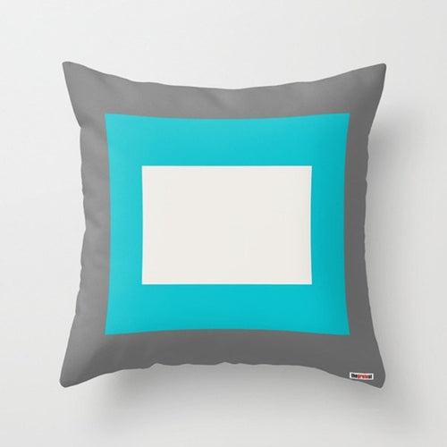 Grey, Blue and White Pillow