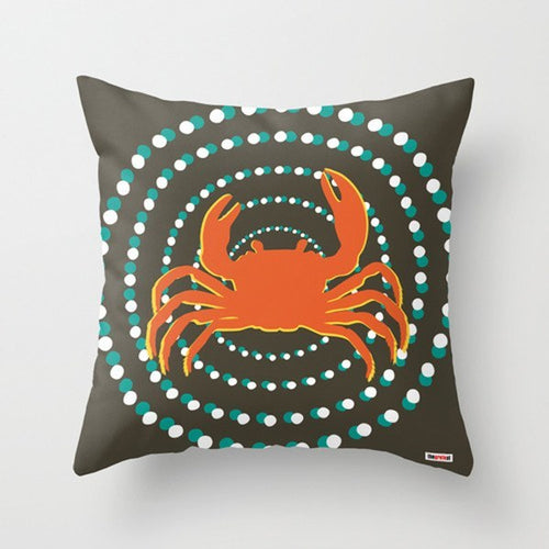 Throw Pillow with crab