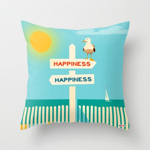 Hapiness Modern Pillow - Nautical throw pillow - TheGretest