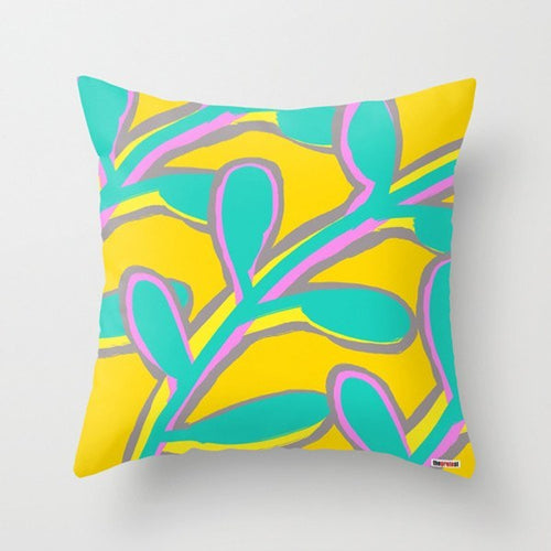Green and yellow Leafs Decorative Pillow