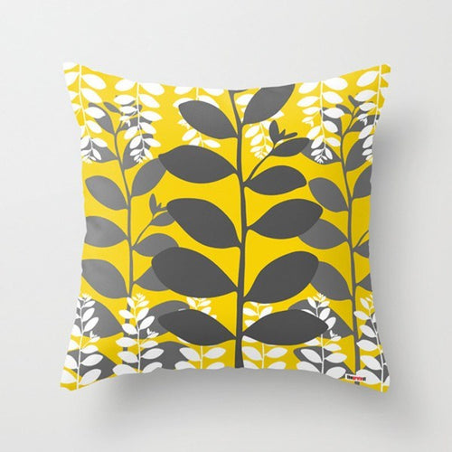 Yellow and grey Leafs Modern Pillow