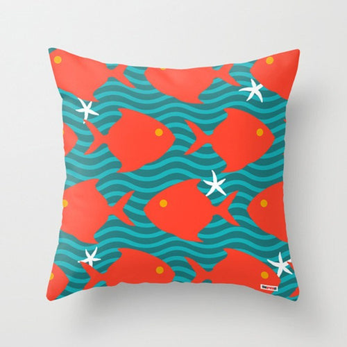 Red Fishes Decorative Pillow