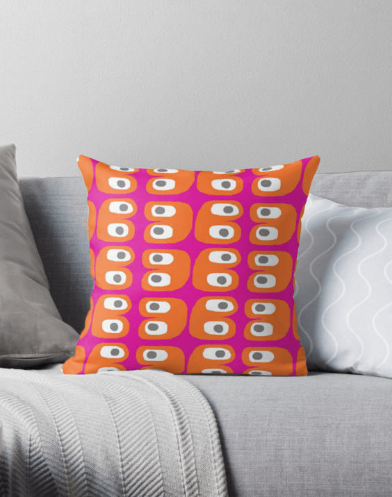 Scandinavian Decorative Pillow - Pink and Orange pillow-TheGretest