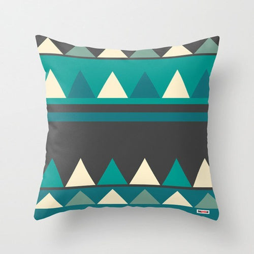 Triangles Blue Decorative Pillow