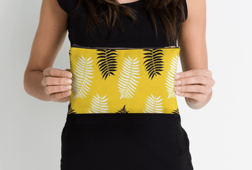Leafs on yellow Pouch - Modern Pouches