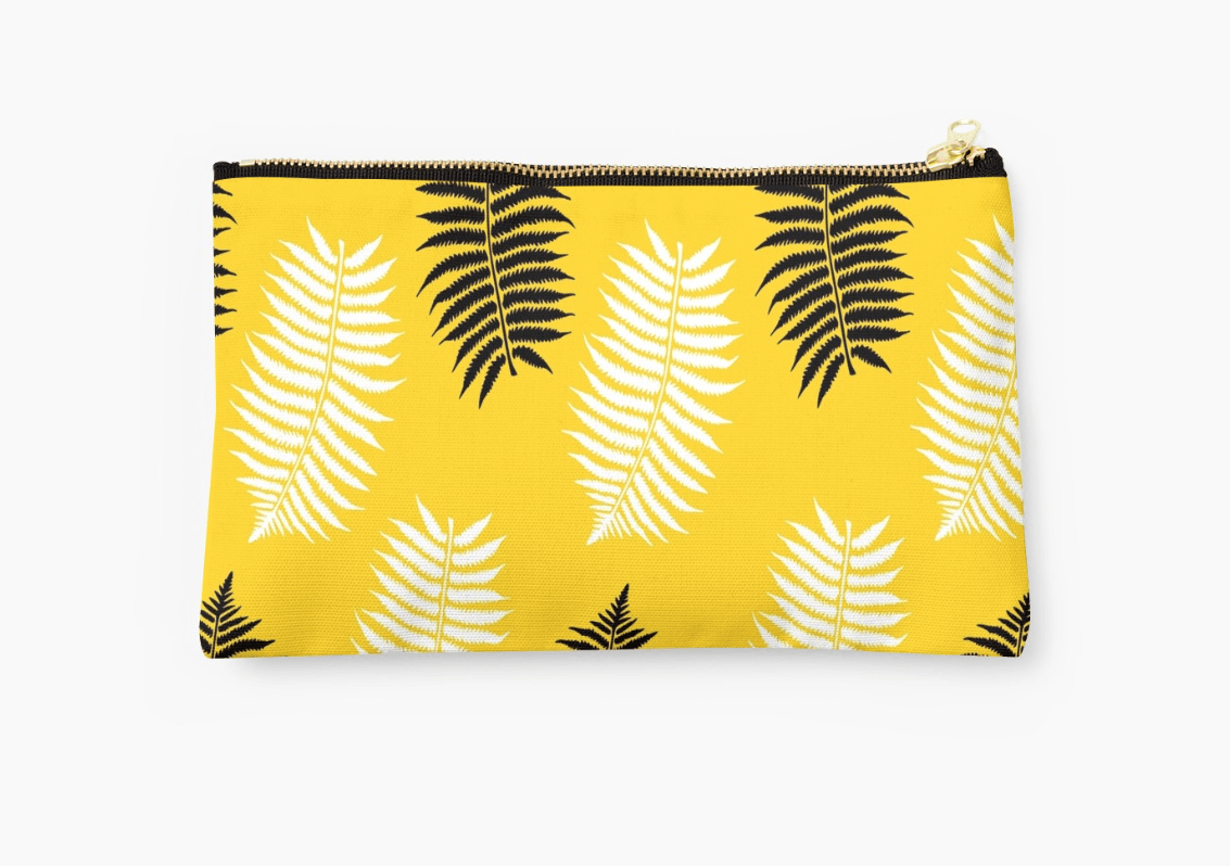Leafs on yellow Pouch - Modern Pouches-TheGretest