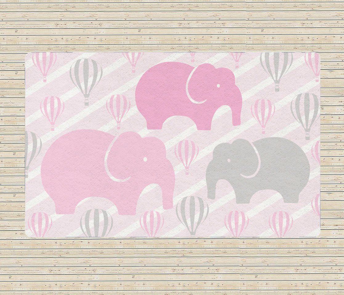 Elephant Rug - Hot Air balloon Rug - Pink Nursery Area Rug-TheGretest