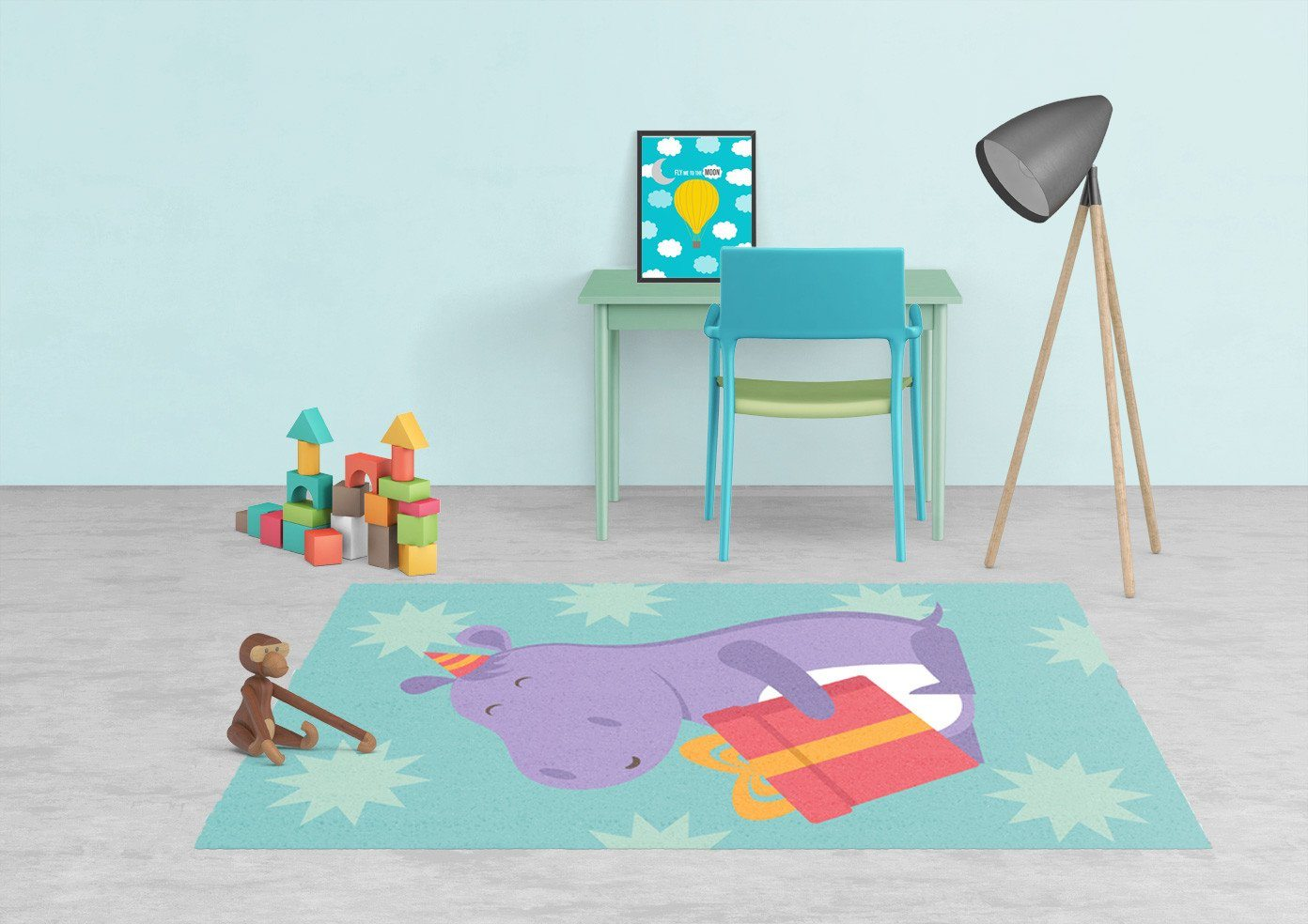 Hippo Rug - Kids rugs - Affordable Rugs - Nursery Area Rugs-TheGretest