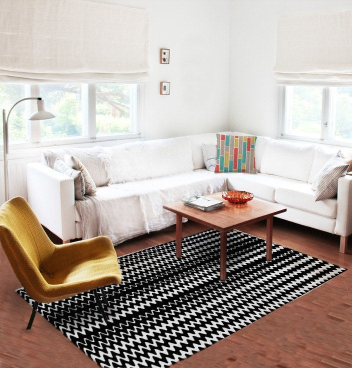 Black and White Rugs - Affordable rugs - 5x8 rug - Modern Rug - Geometric Rugs-TheGretest