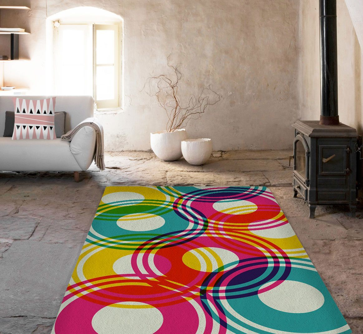 Modern Rug - Colorful Circles Rugs - Affordable area rugs - Accent Rug-TheGretest