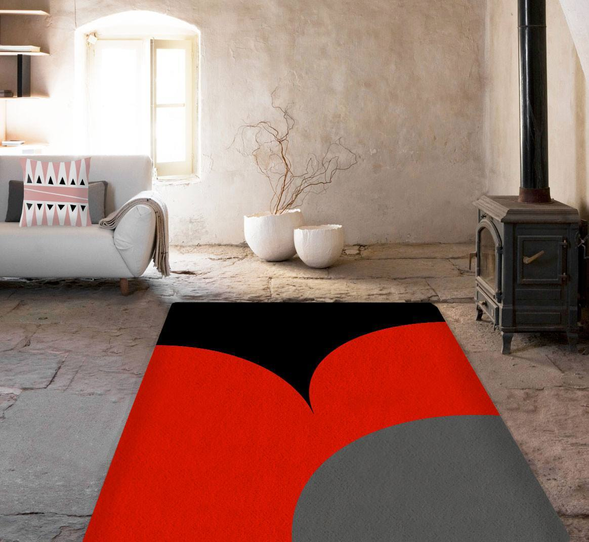 Black and red Rug - Accent Rugs - Affordable area rugs - Dorm rugs ...
