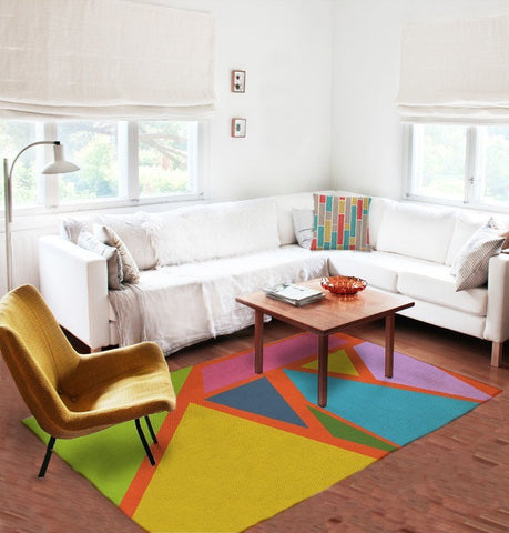 Geometric rugs -Colorful Rug - Rectangular rugs - 5x8 rug - Modern Rug - TheGretest - 1