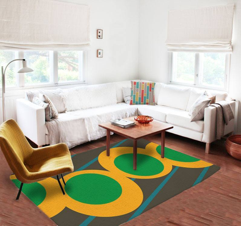 Green and yellow Rugs - Affordable rugs - 5x8 rug - Modern Area Rug-TheGretest