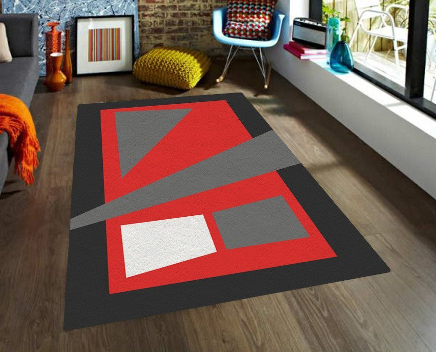 Red and Black Rug - Accent Rugs Geometric Dorm rugs - 5x8 rug-TheGretest