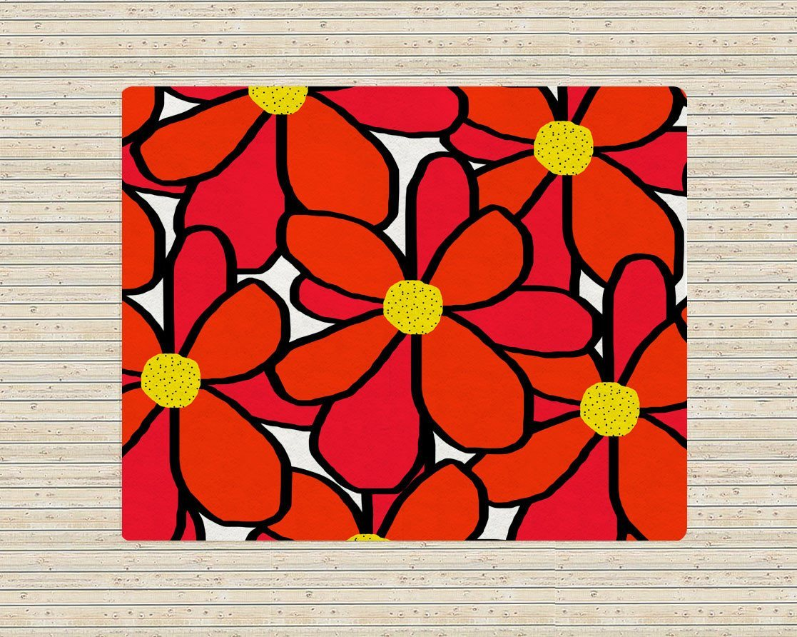 Red Floral Rugs - Accent Rugs -Affordable area rugs - Modern Area Rug-TheGretest