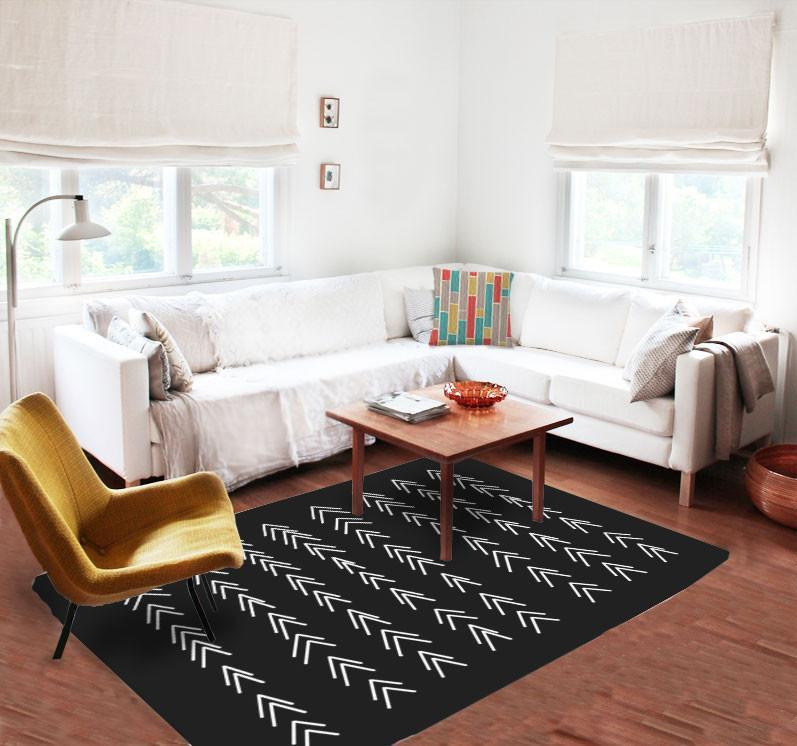 Black and White Rug - Accent Rugs - Dorm rugs - 5x8 rug - Modern ...