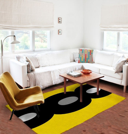 Yellow and Black Rug