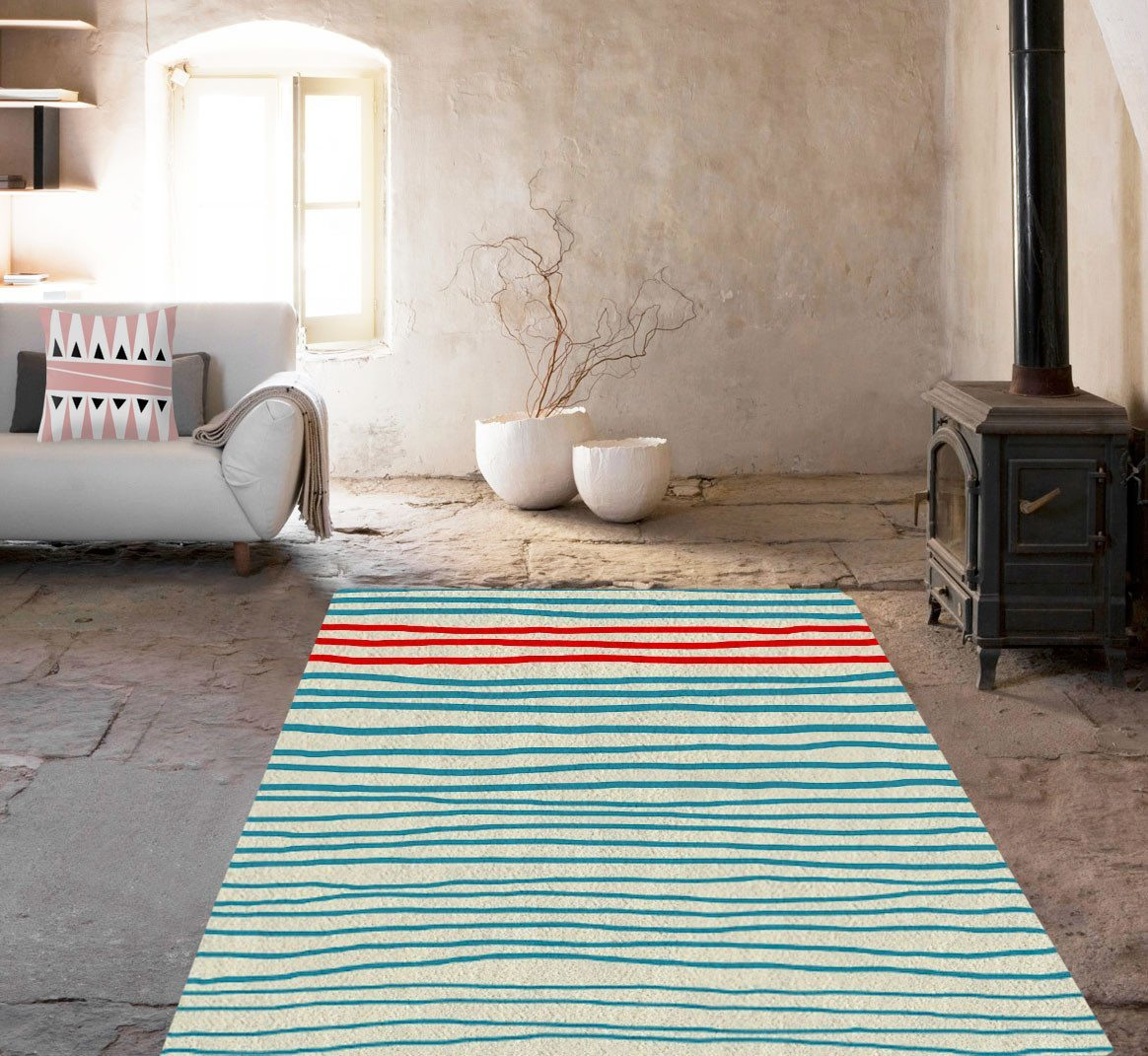 Blue Lines Rugs - Modern Area Rug - Dorm rugs - Affordable area rugs-Rugs-TheGretest