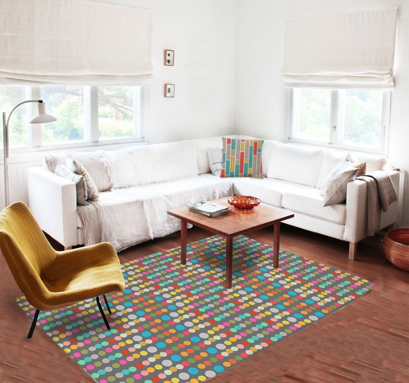 Multicolor dots Rugs - Area rug -Modern Rugs - Dorm rugs - Rectangular rug-TheGretest