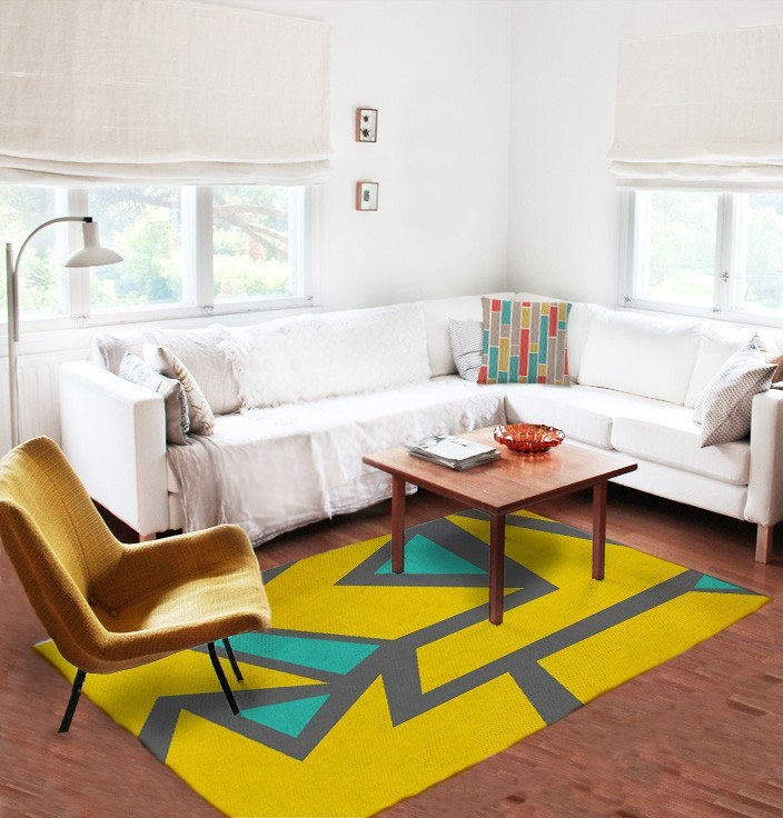 Geometric Yellow Rug - Modern Area Rug - Affordable rugs -Decorative Rugs-TheGretest