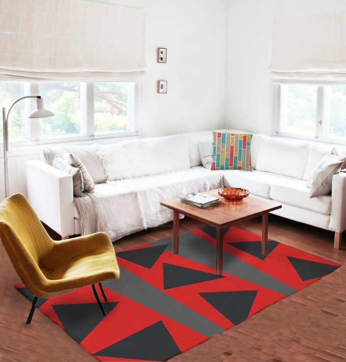 Red and black rugs - Modern Rug - Area Rugs - Affordable rugs-TheGretest