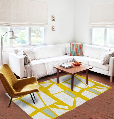 White And Yellow Rug   Geometric Rugs   Affordable Rugs   5x8 Rug   Modern  Area