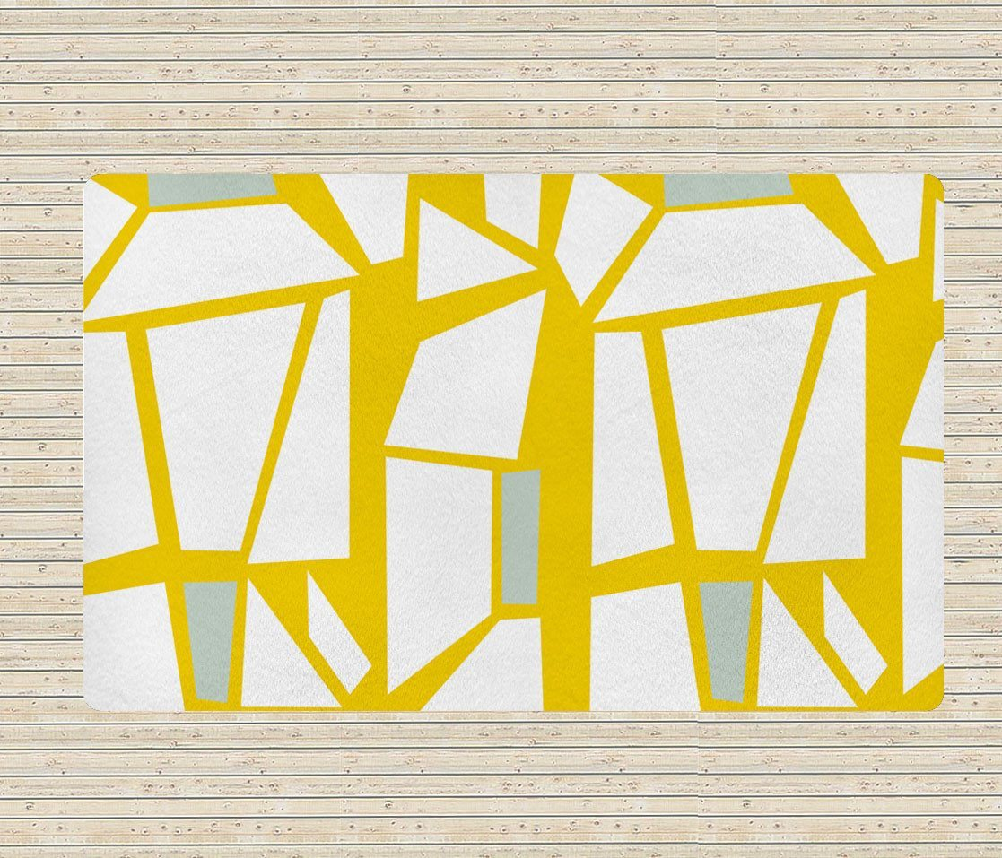 White and Yellow Rug - Geometric Rugs - Affordable rugs - 5x8 rug - Modern Area Rug-TheGretest
