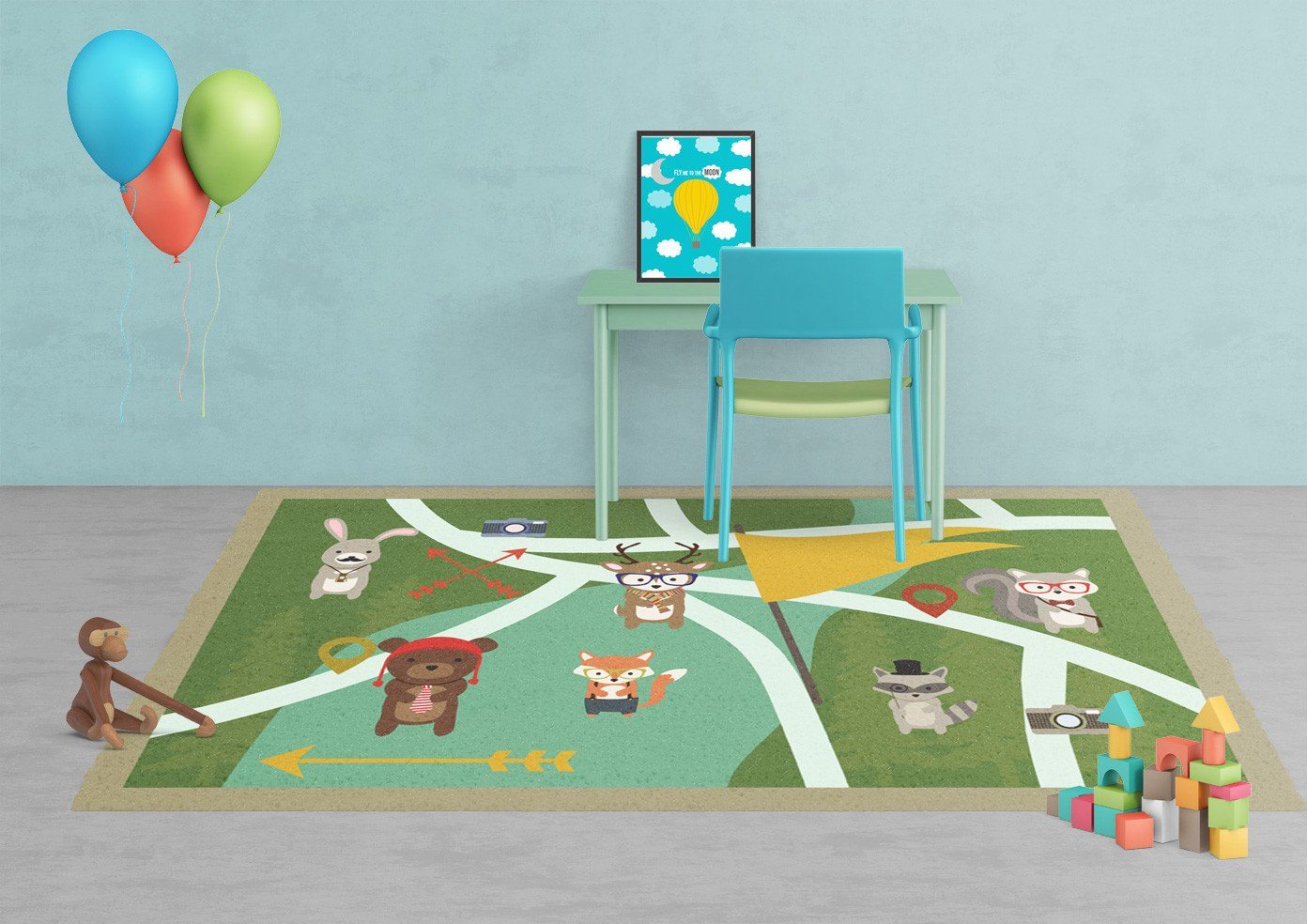 Woodland creatures Rug - Kids rugs - Affordable Rugs - Nursery Area Rugs-TheGretest