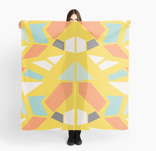 Modern Large Scarves - Geometric on Yellow Scarf - Original Scarves