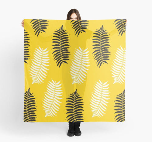 Modern Large Scarves - Leafs on Yellow Scarf - Original Scarves