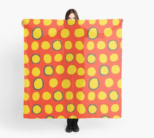 Modern Large Scarves - Yellow Circles on Red Scarf - Original Scarves
