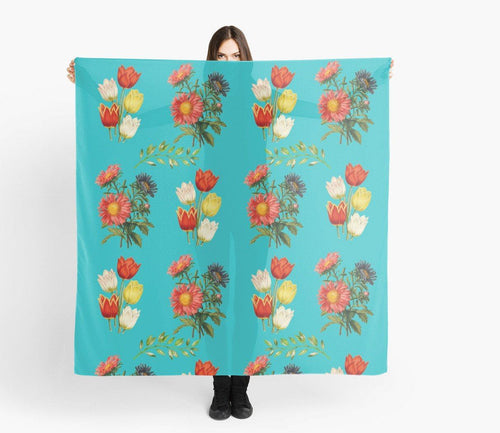 Modern Scarves - Floral on Blue Scarf - Scarves