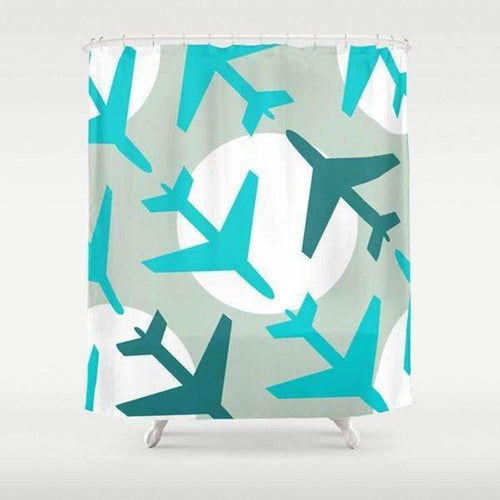 Airplanes Blue Shower Curtain
